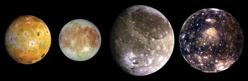 Io, Europa, Ganímedes y Calisto, vistos aquí de izquierda a derecha en orden creciente de distancia de Júpiter.