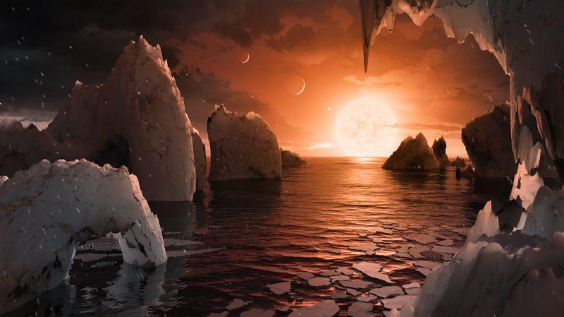 Recreación de la superficie de uno de los planetas de TRAPPIST-1