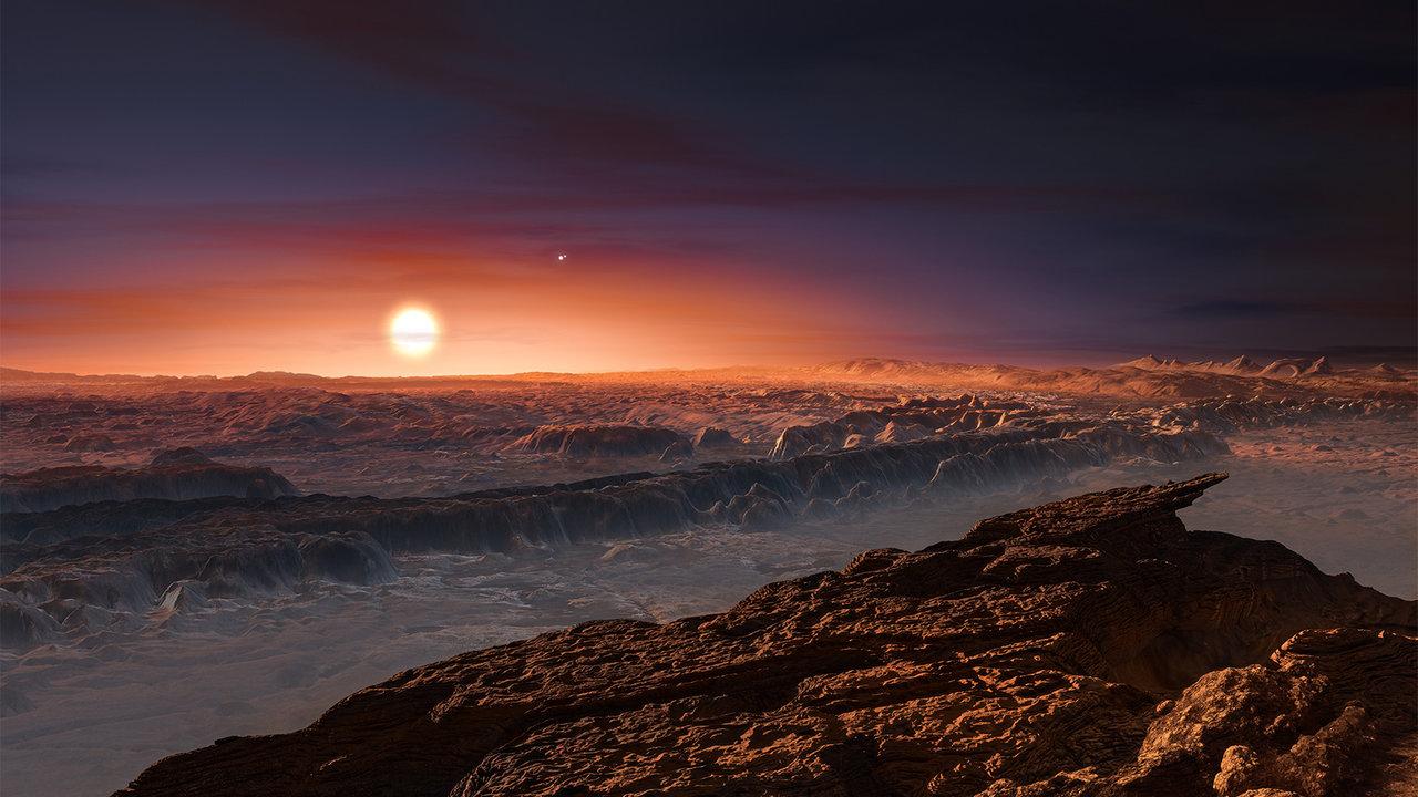 Representación artística de la superficie del exoplaneta Próxima B