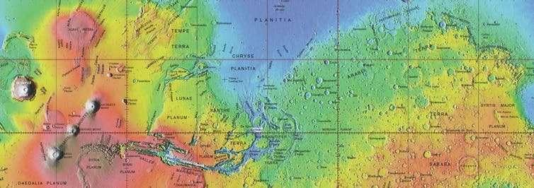 Nombres aprobados en el mapa topográfico global de Marte