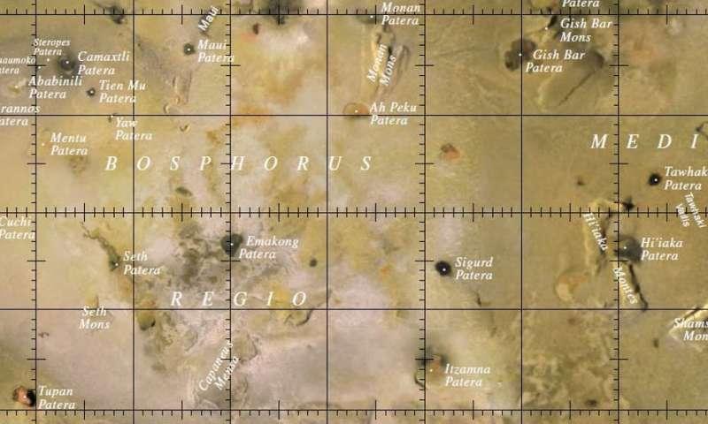Un mapa de parte de Io, con nombres añadidos