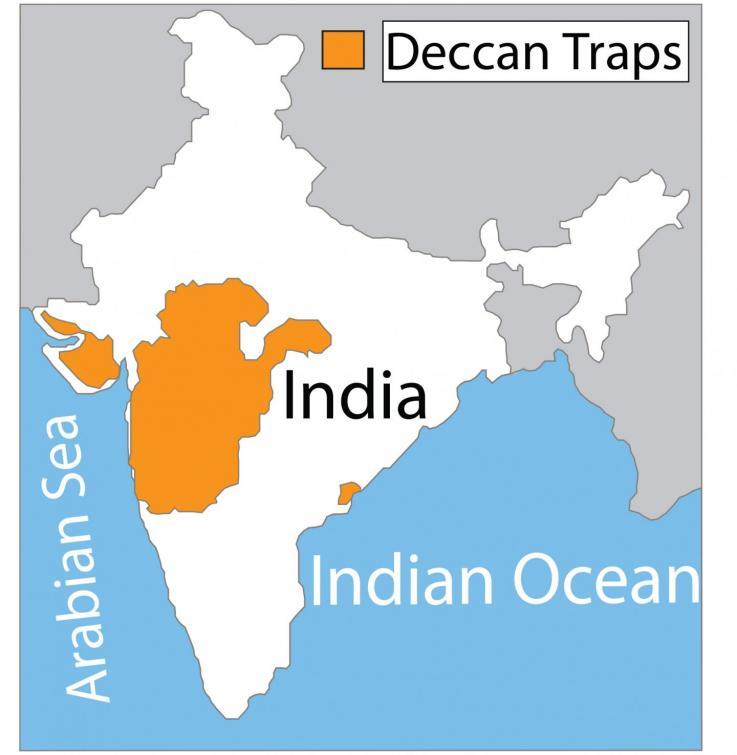 Mapa que muestra la extensión del vulcanismo de las trampas Deccan