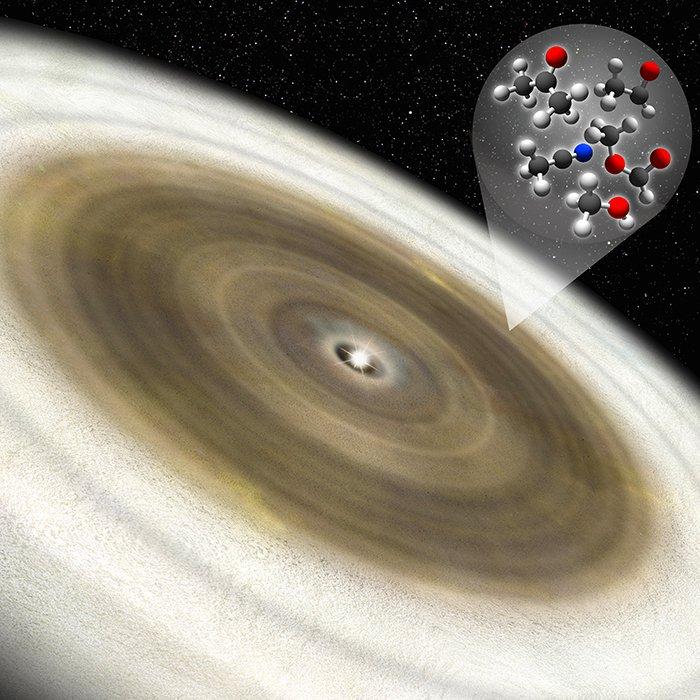 Impresión artística del disco protoplanetario alrededor de V883 Ori