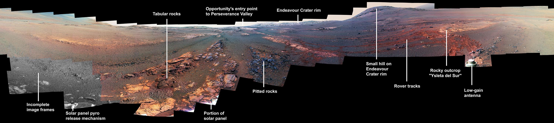 Este es la última imagen panorámica tomada por Opportunity en Marte