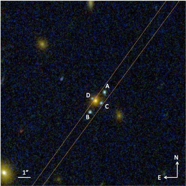 La recién descubierto «Cruz de Einstein» J2211-3050. Una galaxia elíptica (el objeto amarillo) actúa como una lente, produciendo los cuatro objetos azules (marcados ABCD) que son las imágenes de una galaxia aproximadamente 3 veces más distantes. Con GTC fue posible aislar y dispersar la luz de los objetos ABC, demostrando que pertenecen a la misma fuente de luz