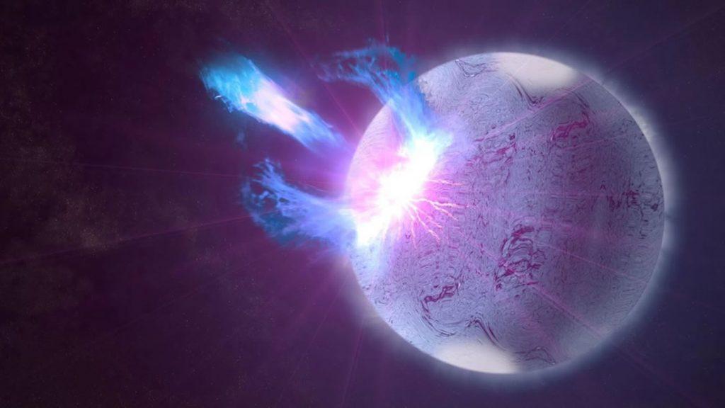 Representación artística de un magnetar lanzando estallidos de energía