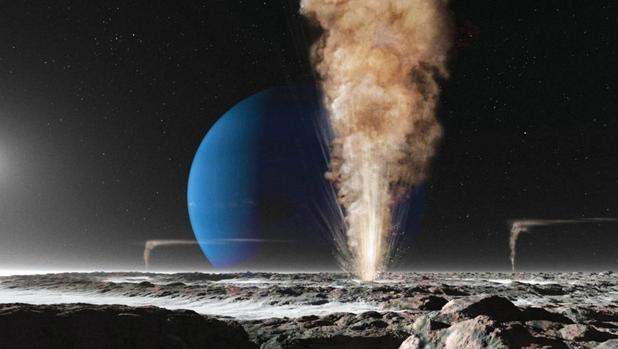 Representación artística de Tritón, luna de Neptuno