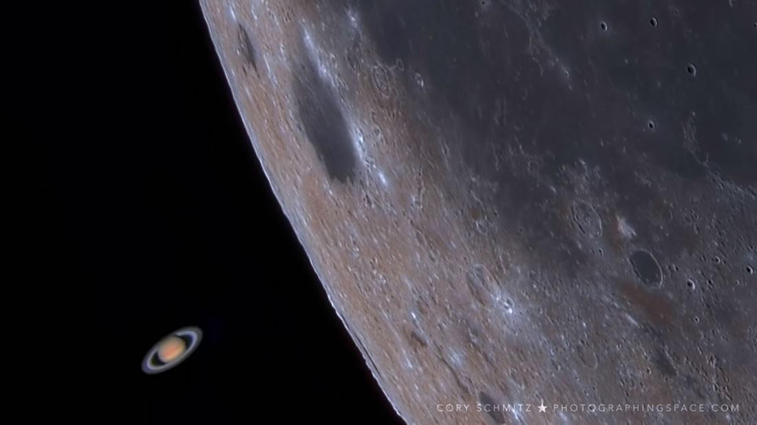 Astrofotógrafo captura a Saturno deslizándose detrás de la Luna, ¡y es totalmente asombroso!