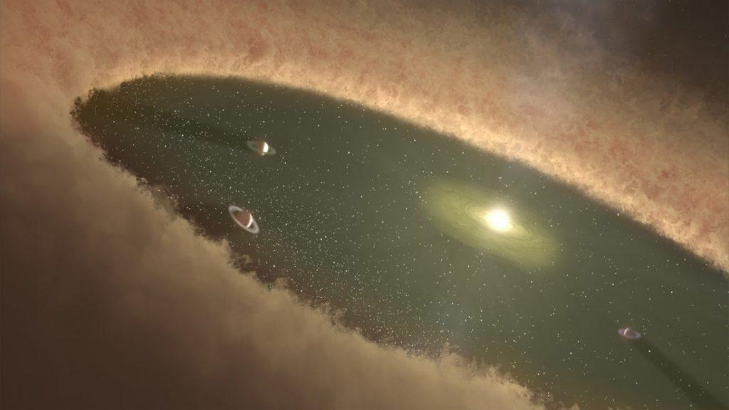 Representación artística de una masiva nube que rodea un Sistema planetario. Similar a la Nube de Oort
