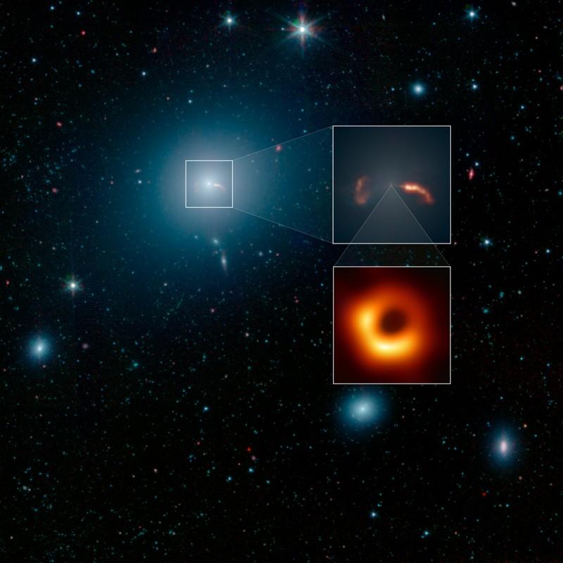Esta imagen de campo amplio de la galaxia M87 fue tomada por el Telescopio Espacial Spitzer de la NASA. El recuadro superior muestra un primer plano de dos ondas de choque, creadas por un chorro que emana del agujero negro supermasivo de la galaxia. El Event Horizon Telescope tomó recientemente una imagen de cerca de la silueta de ese agujero negro, se muestra en la segunda inserción