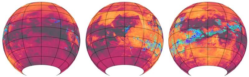 3 orientaciones del globo terráqueo de Titán. Mapeado en azul es el corredor helado.