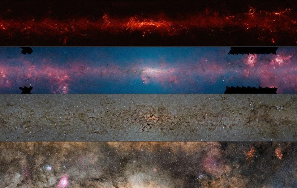 Esta vista de cuatro paneles muestra la región central de la Vía Láctea en cuatro longitudes de onda diferentes de luz, con las longitudes de onda más largas (submilimétricas) en la parte superior, pasando por el infrarrojo lejano y cercano (2º y 3º) y terminando en una vista de luz visible de la Vía Láctea. Tenga en cuenta que las líneas de polvo y las estrellas en primer plano oscurecen el centro con luz visible, pero no tanto en el infrarrojo
