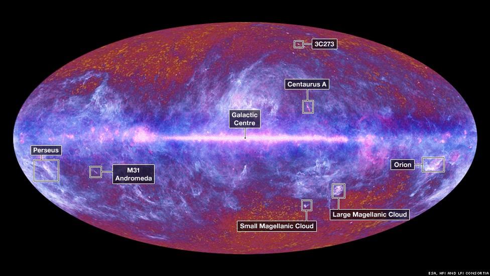 El primer mapa de cielo completo publicado por la colaboración de Planck revela algunas fuentes extragalácticas con el fondo de microondas cósmico más allá de él, pero está dominado por las emisiones de microondas de primer plano de nuestra propia materia galaxia: principalmente en forma de polvo que se irradia a bajo pero no despreciable las temperaturas