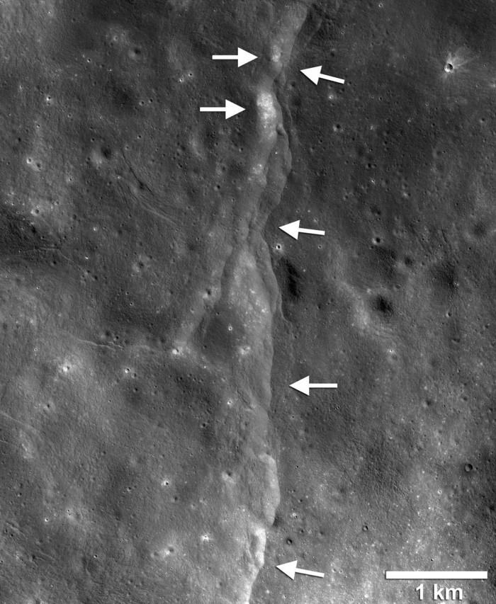 Este prominente escarpe de fallas de empuje del lóbulo lunar es uno de los miles descubiertos en las imágenes de la Lunar Reconnaissance Orbiter Camera (LROC)