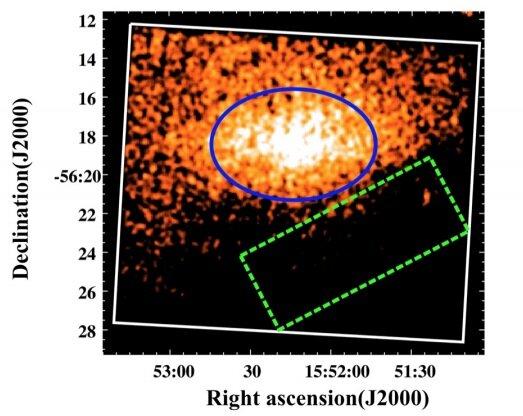 Imagen de Suzaku XIS1 del borde SW de MSH 15−56 en la banda de energía de 0.3 a 10 keV. La región SW se muestra mediante el área elíptica azul. La región de fondo se indica mediante el cuadro de guiones y el cuadro blanco representa el FoV de XIS1
