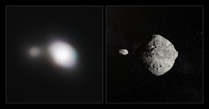 El instrumento SPHERE del Very Large Telescope obtuvo las imágenes más nítidas de un asteroide doble mientras volaba por la Tierra el 25 de mayo