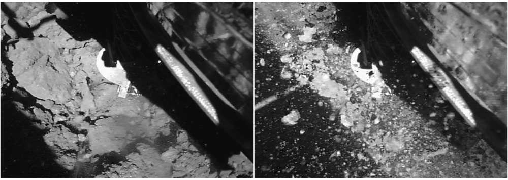 El momento de la toma de contacto (izquierda) y cuatro segundos después, cuando los desechos comenzaron a volar (derecha)
