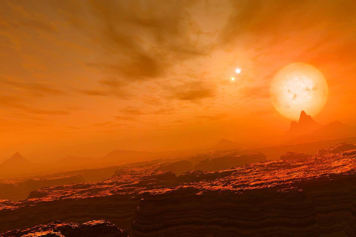 Representación artística del sistema estelar Gliese 677. Este podría ser un buen lugar para buscar vida