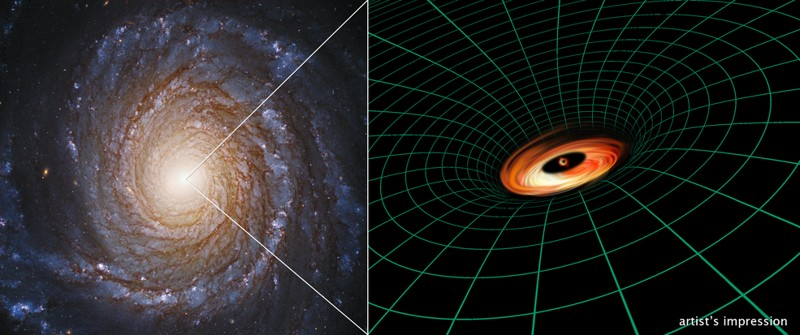 Una imagen del Telescopio Espacial Hubble de la galaxia espiral NGC 3147 aparece junto a la ilustración de un artista del agujero negro supermasivo que reside en el núcleo de la galaxia