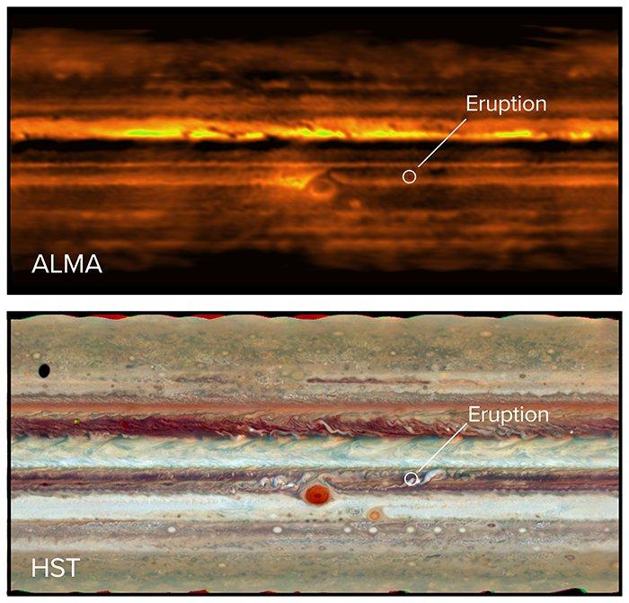 Imágenes de ALMA y Hubble comparadas