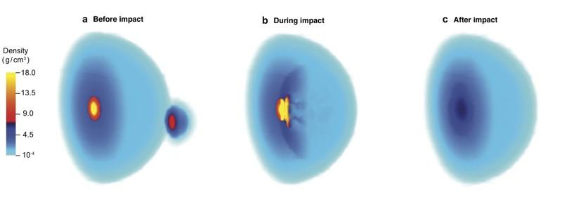 Una representación muestra el efecto de un gran impacto en el núcleo de un joven Júpiter, como lo sugieren los científicos de las universidades Rice y Sun Yat-sen. Dicen que la colisión hace unos 4.500 millones de años podría explicar lecturas sorprendentes de la nave espacial Juno de la NASA