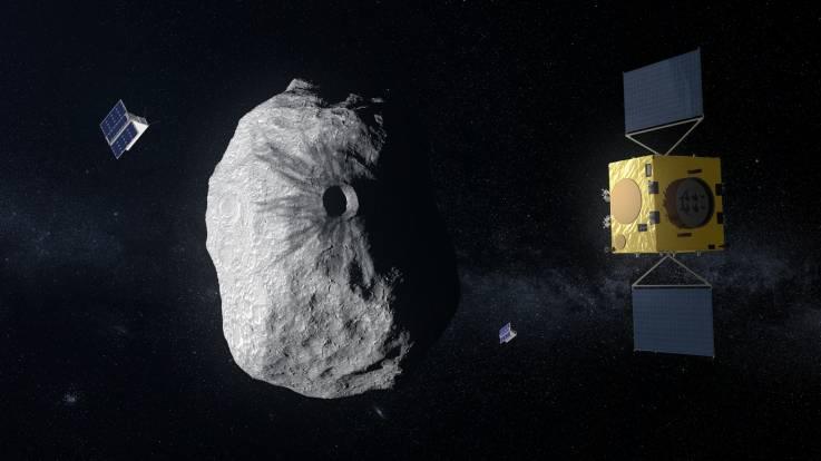 Hera estudiará las consecuencias del impacto causado por la nave espacial DART de la NASA en el cuerpo más pequeño de Didymos