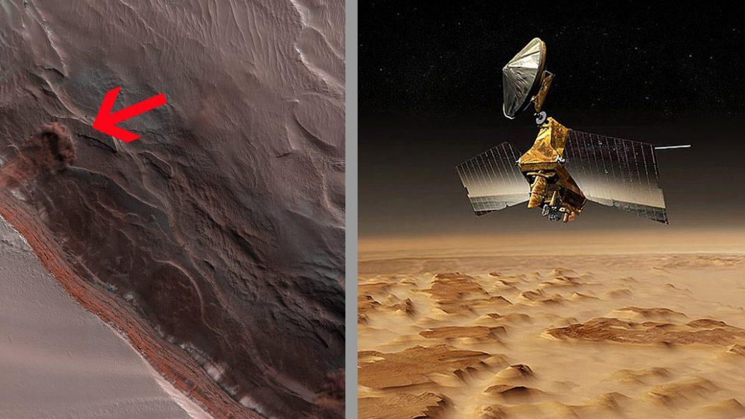 Observan una avalancha de hielo cayendo por una montaña en Marte