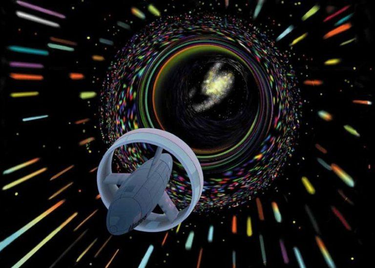 Concepto del artista de una nave espacial utilizando un Alcubierre Warp Drive