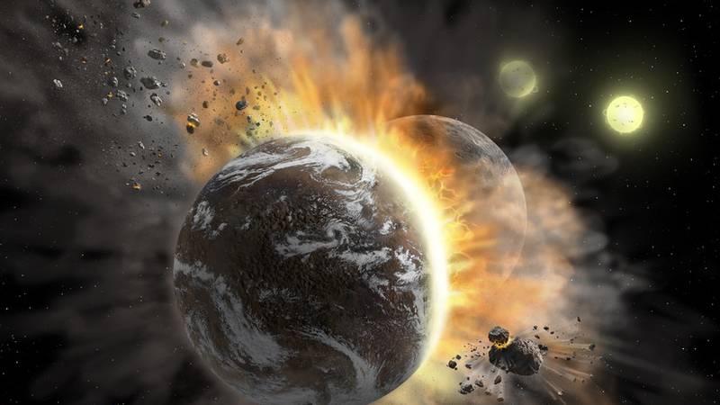 Representación artística de la colisión de dos planetas