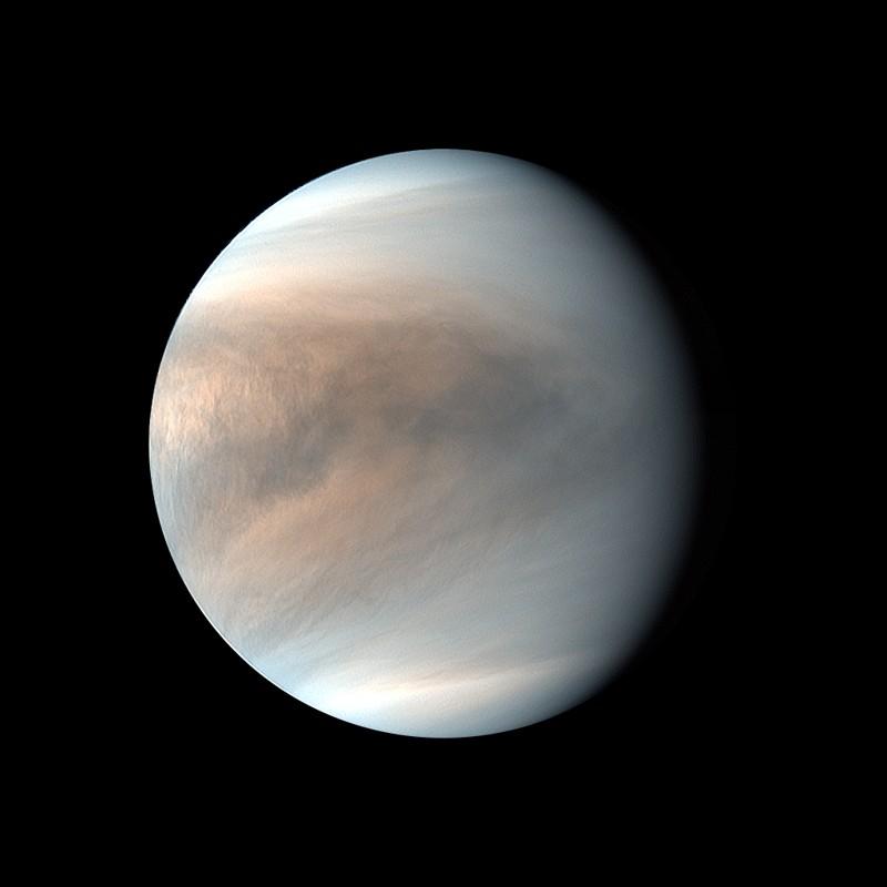 Una imagen de Venus basada en datos de Akatsuki, la nave espacial japonesa que actualmente orbita a nuestro vecino